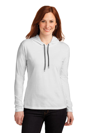 Anvil® Ladies 100% Combed Ring Spun Cotton Long Sleeve Hooded T-Shirt. 887L