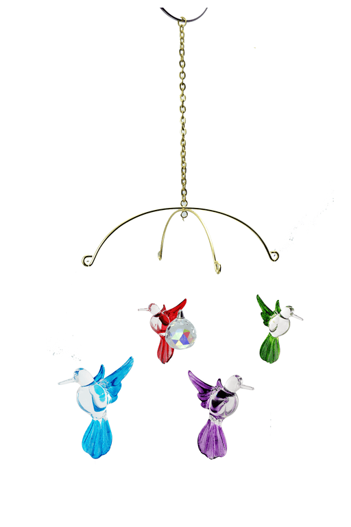 Soild Color Glass Hummingbird , Includes Stand - Set of 4