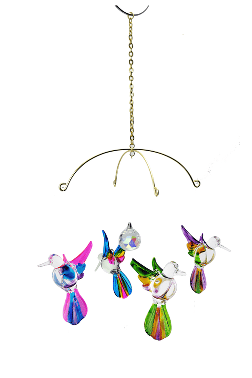 Multi Color Glass Hummingbird , Includes Stand - Set of 4