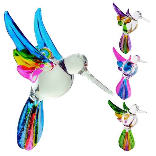 Crystal Castle®| Multi Color Glass Hummingbird , Includes Stand - Set of 4