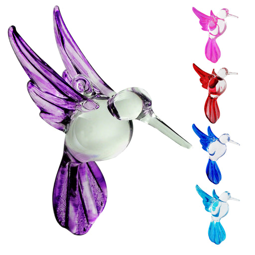Crystal Castle®| Soild Color Glass Hummingbird , Includes Stand - Set of 4