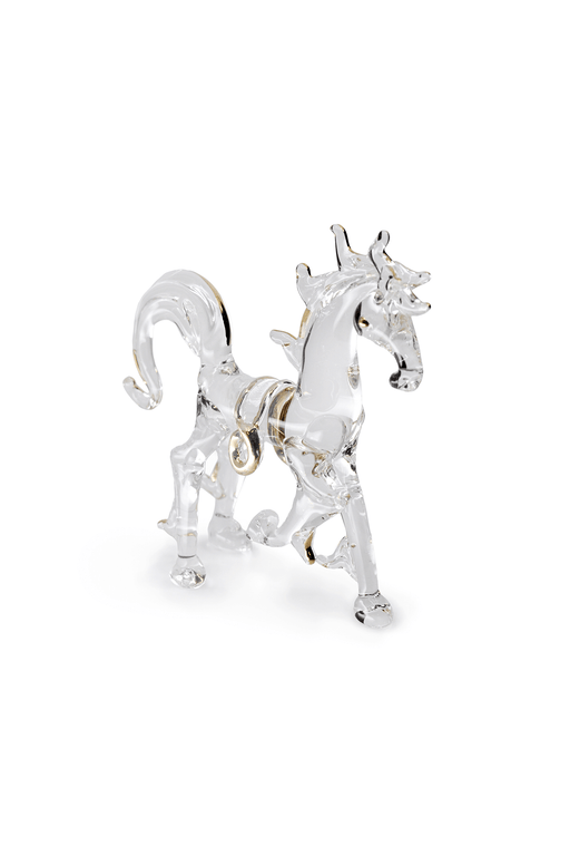 Glass Stallion with Gold Trim