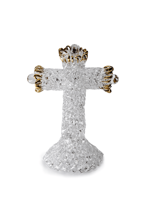 Glass Cross with Gold Trim