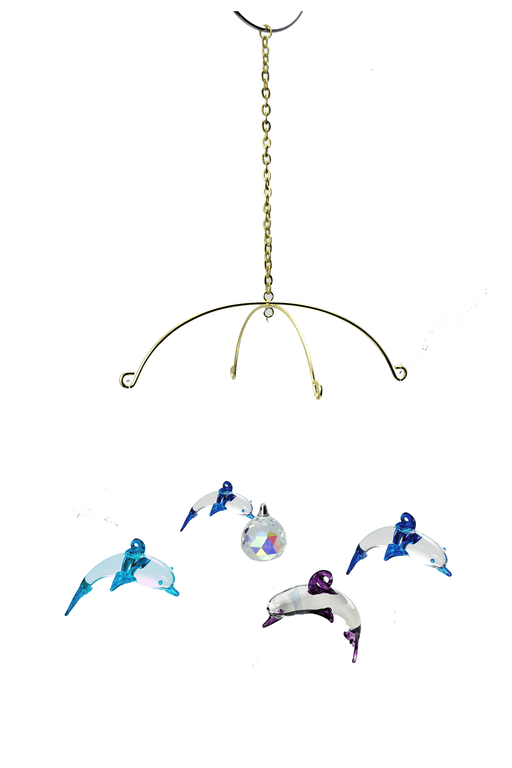 Glass Dolphins, Includes Stand - Set of 4