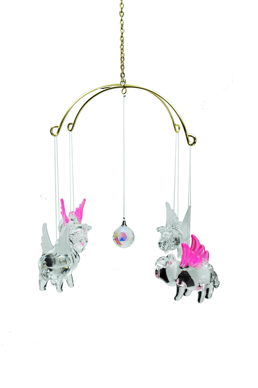 Glass Pig with Wings, Includes Stand - Set of 4