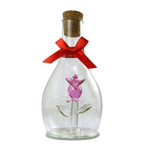 Glass Rose And Cork Stopper Bottle by Crystal Castle®