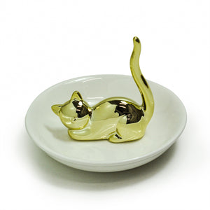 Cat Ring Dish by Crystal Castle®, Gold