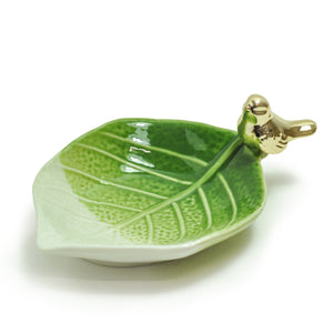 Gold Bird on Leaf Ring Dish by Crystal Castle®, Small