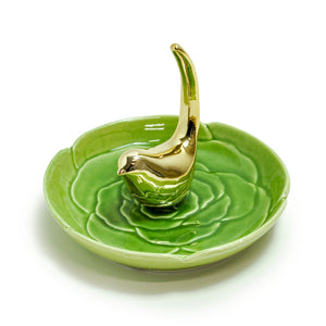 Gold Bird on Water Lily Ring Dish by Crystal Castle®