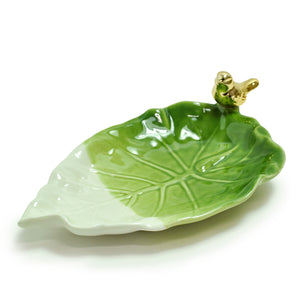 Gold Bird on Leaf Ring Dish by Crystal Castle®, Large
