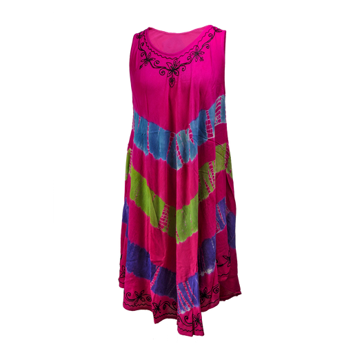 YOUNG USA® - Ladies Bohemian Dress - Pink/Lime Green