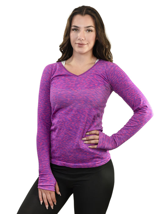 YOUNG USA® - Ladies Athletic Long Sleeve Shirt, V-Neck
