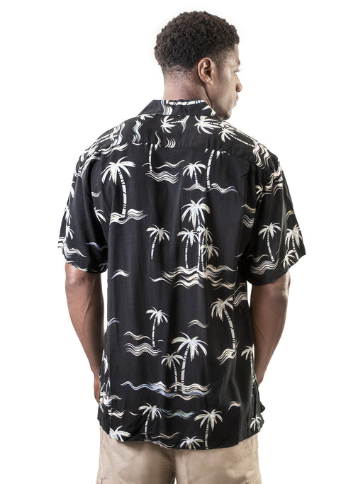 Men's Hawaiian Shirt, Palm Trees and Waves