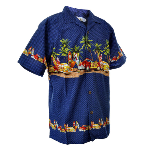 Men's Hawaiian Shirt - Cars, Surfboards and Palm Trees