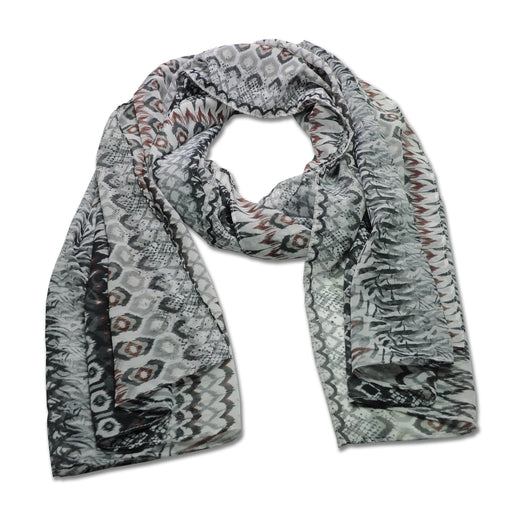 YOUNG USA® - Ladies Chiffon Scarves, Geometric Print