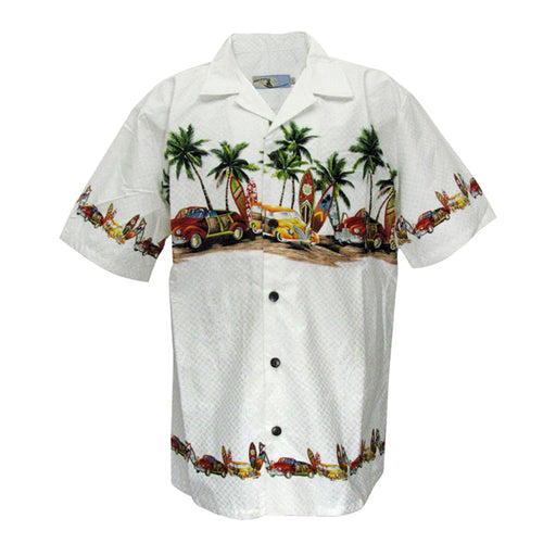 Men's Hawaiian Shirt - Palm Trees, Cars and Surfboards