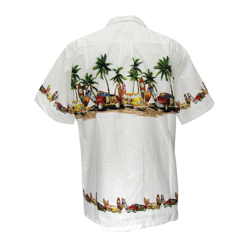 Men's Hawaiian Shirt, Palm Trees, Cars and Surfboards