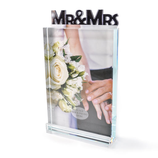 """Mr. & Mrs."" Glass Photo Frame by Crystal Castle"