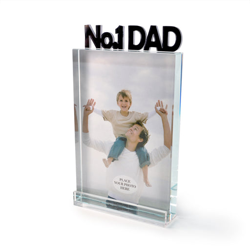 """#1 Dad"" Glass Photo Frame by Crystal Castle"