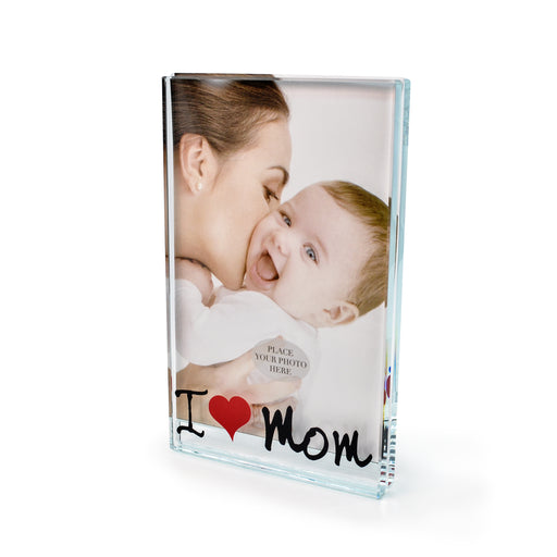 """I Love Mom"" Glass Photo Frame by Crystal Castle"