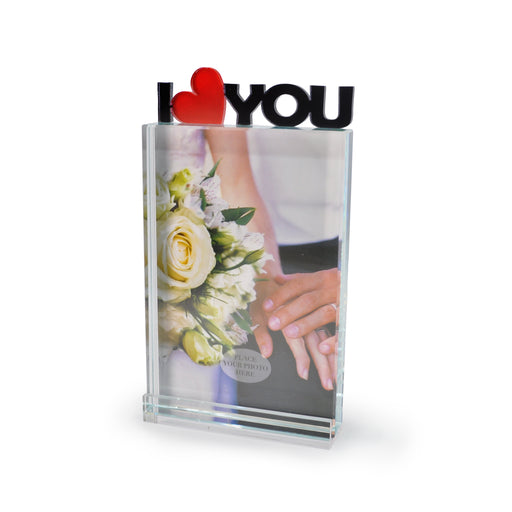 """I Heart You"" Glass Photo Frame by Crystal Castle"