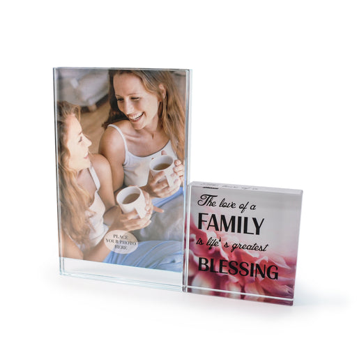"""Family"" Glass Photo Frame by Crystal Castle"