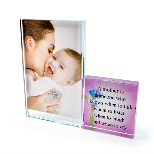 """A Mother Is"" Glass Photo Frame by Crystal Castle"