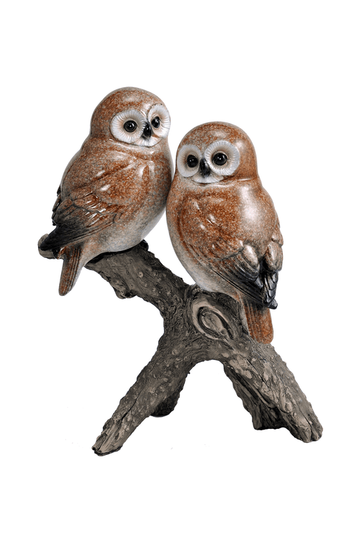 Two Owls on Branch Figuirine by Crystal Castle®