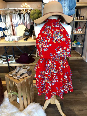 Floral Flounce Dress in Red