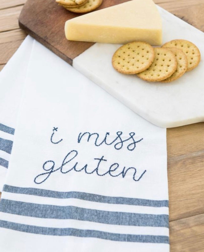 I Miss Gluten Embroidery Tea Towel