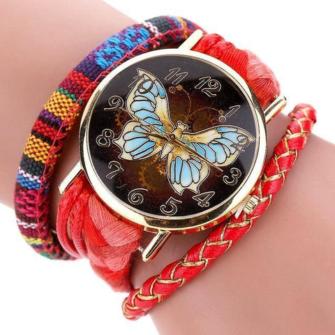 Leather Women Butterfly Bracelet/Watch