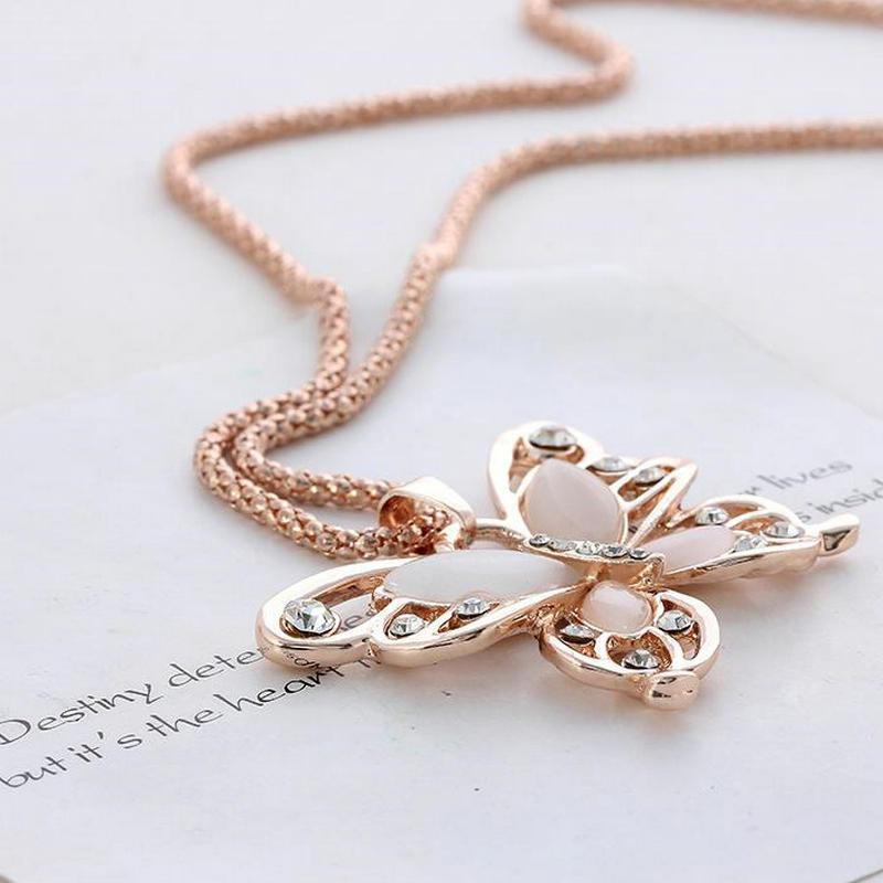 Rose Gold Acrylic Butterfly Necklace