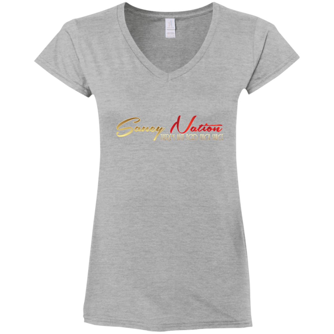 Too Much Sauce Ladies' Fitted V-Neck T-Shirt