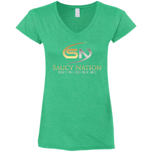 SN Silver & Gold Ladies' Fitted Softstyle  V-Neck T-Shirt