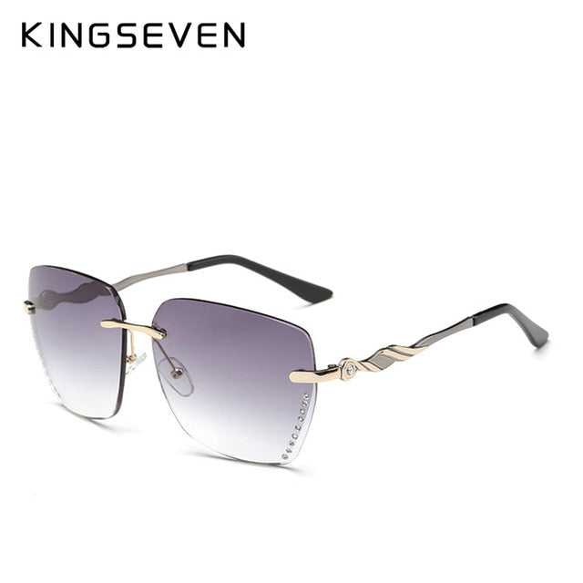 KINGSEVEN Women's Square Rimless Elegant Sunglasses