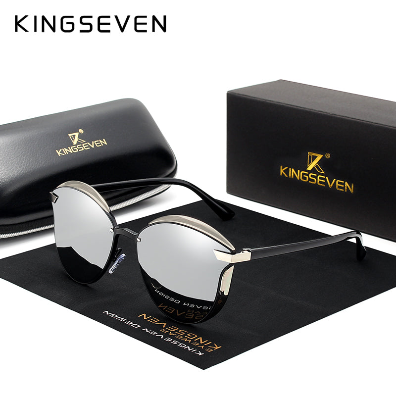 KINGSEVEN Luxury Alloy Frame Cat Eye Women's Sunglasses