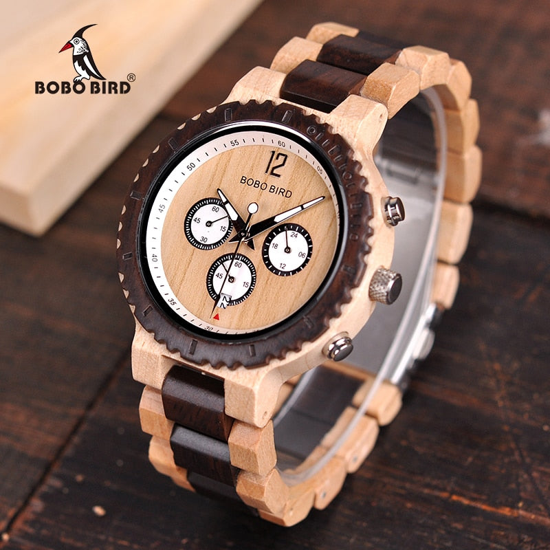 87bf9ef4195 BOBO BIRD Luxury Wooden Watch Men Chronograph Military Quartz Wristwatches  relogio masculino Men s Great Gift V ...