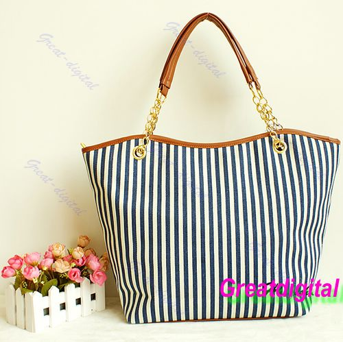 Brand Stylish Women Handbag Ladies Shopping Stripes Tassel Tote Shoulder  Bag Linen Hot b82321435b770