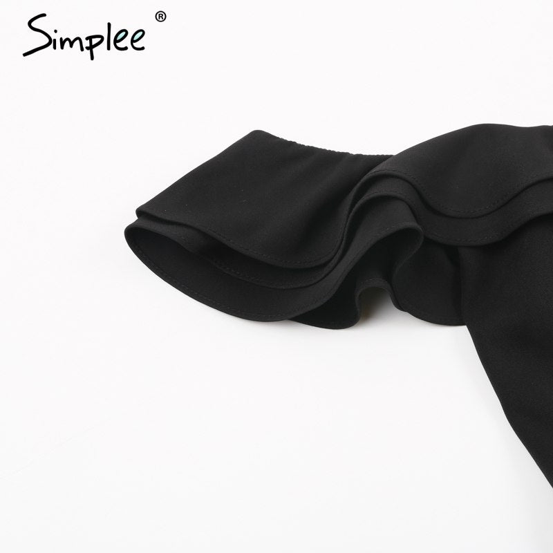 75b4aa8b1b ... Simplee Sexy off shoulder backless black jumpsuit women Tiered ruffle  high waist jumpsuit romper Pocket casual ...