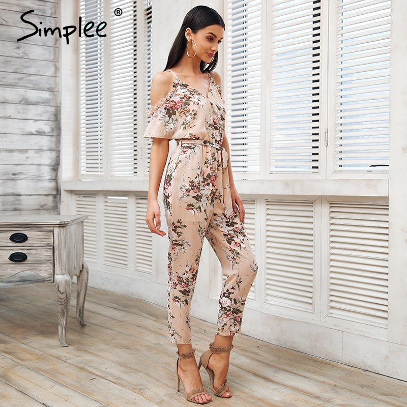 9df9c364554a ... Simplee Sexy cold shoulder long jumpsuit romper Boho floral print  ruffle backless playsuit Elegant summer beach ...