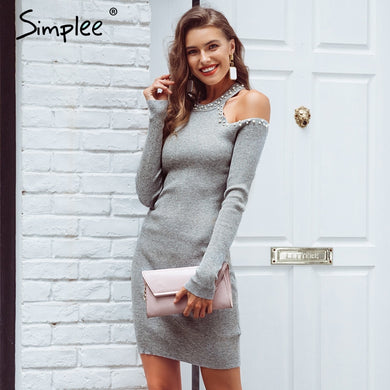 e6d232b90255a Simplee Sexy off shoulder beading sweater dress Women slim elastic long  party dress Elegant autumn winter