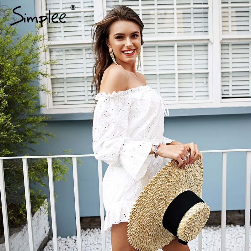 b53d32ca685 ... Simplee Lace up backless jumpsuit romper women Off shoulder cotton  white summer romper Ruffle long sleeve ...