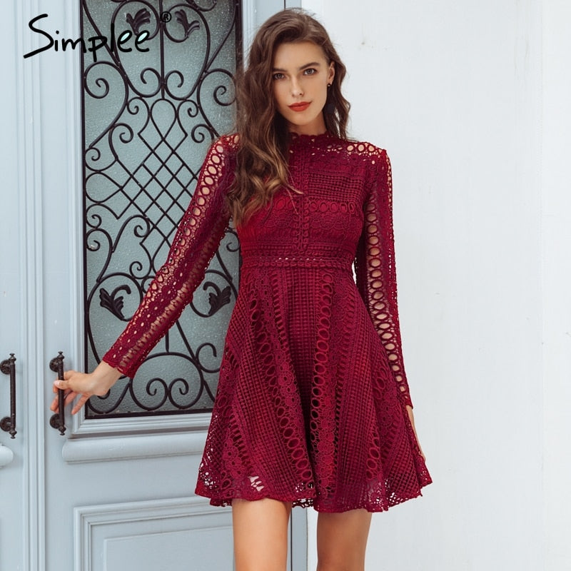 9719b8473d7ad Simplee Sexy water soluble lace dress Elegant long sleeve hollow out women  dress Autumn winter party ...