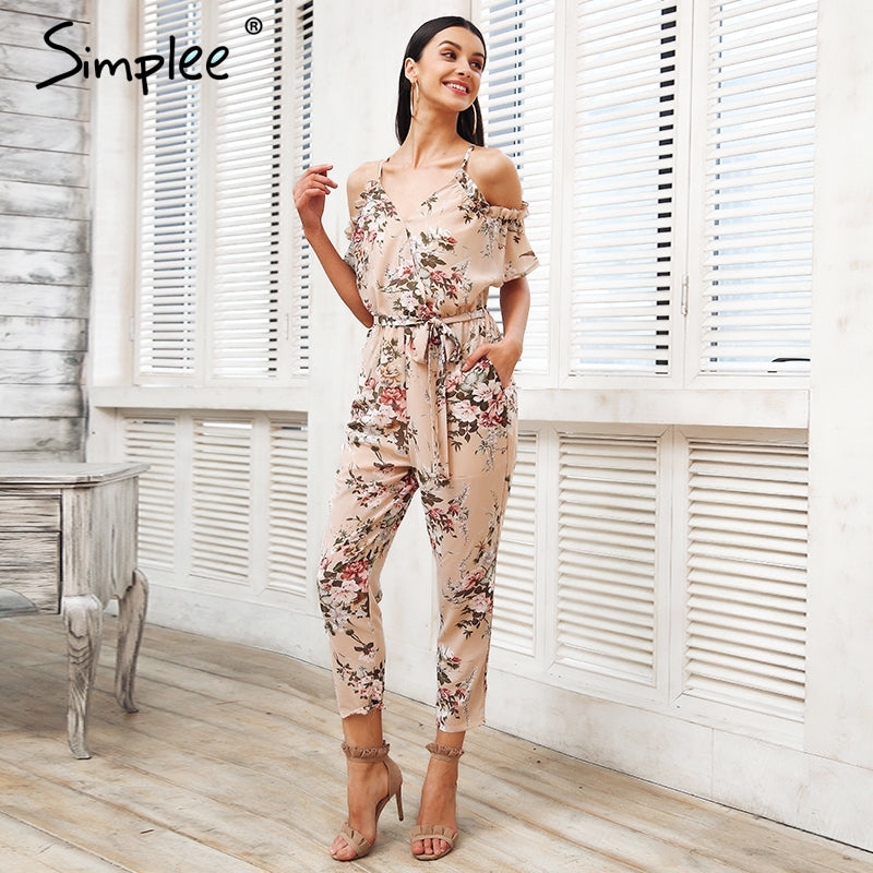 6093ee8edb5ab Simplee Sexy cold shoulder long jumpsuit romper Boho floral print ruffle  backless playsuit Elegant summer beach overalls 2018