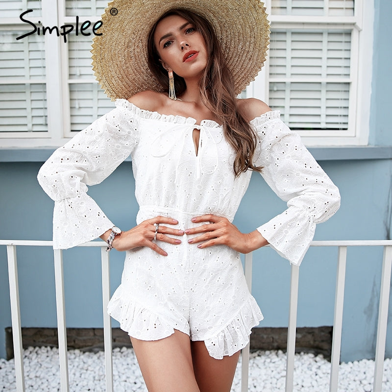 4b49a6c92362 Simplee Lace up backless jumpsuit romper women Off shoulder cotton white  summer romper Ruffle long sleeve ...