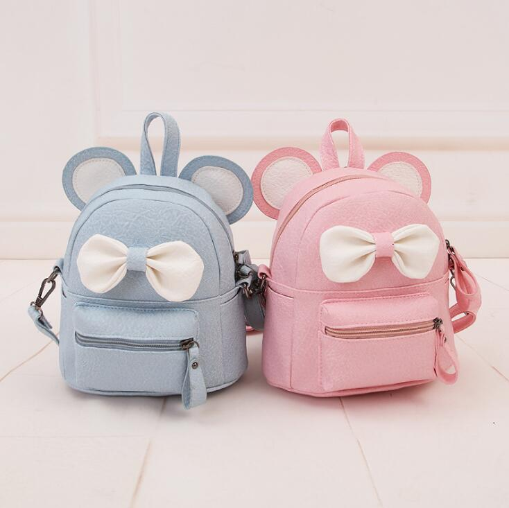 ba43454759c9 Hot Mickey Ears Leather Backpacks for Teenage Grils Sweet Cute Bowknot  Backpack Child Women Shoulder Bag ...