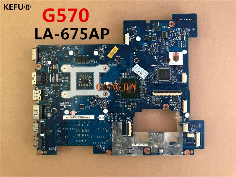 KEFU Cheap system board PIWG2 LA-675AP For Lenovo G570 Laptop Motherboard  Full Tested