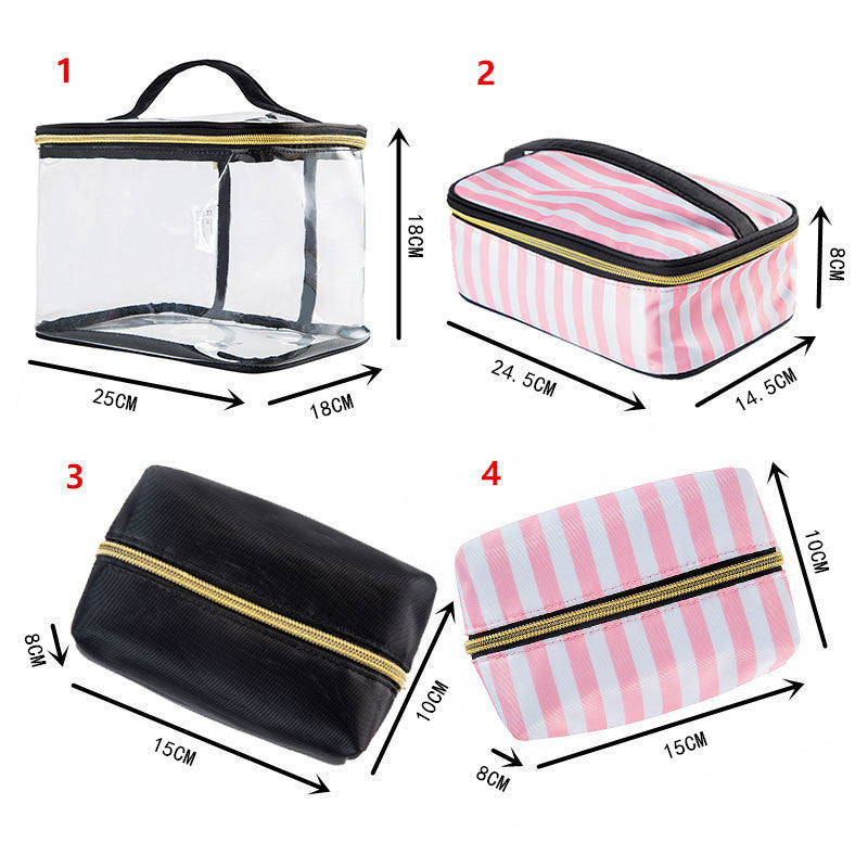 a9d7522097dd ... PVC Transparent Cosmetic Bag Travel Toiletry Bag Set Pink Make-up  Organizer Pouch Makeup Case ...