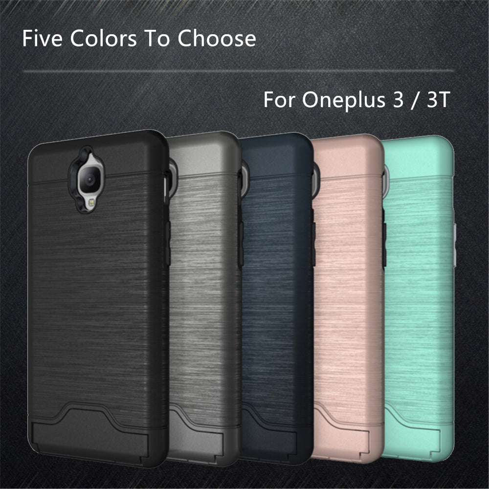 on sale 64760 6094f WolfRule Luxury Case OnePlus 3T Cover Shockproof Silicone + Plastic Brushed  Case Oneplus 3T Case OnePlus 3 Phone Card Slot