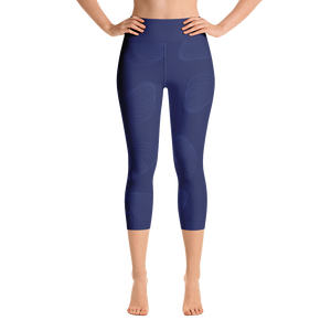 Navy on Navy SHUCKABLE SHELL YOGA CAPRI LEGGINGS
